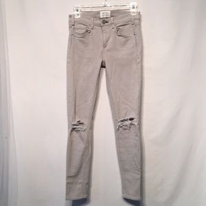 McGuire Gray Distressed Denim Ankle Jeans Size 25
